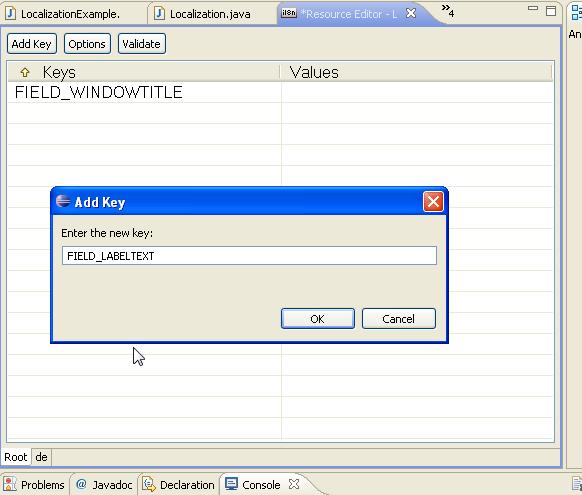 Adding resource keys